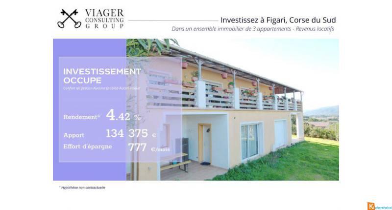 Investissement - Ensemble immobilier de 3 appartements - Figari