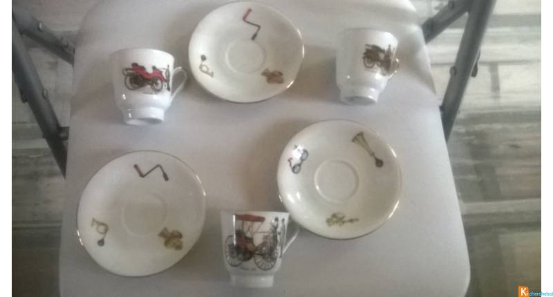3 tasses + soucoupes  hartporzellan germany rheinp