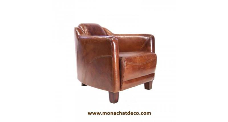 Fauteuil club cigare CUIR marron NEUF 1 occasion Le Havre