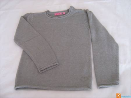 Pull gris clair strass