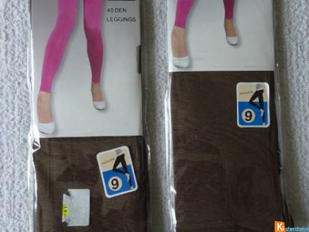 Lot 2 leggings marron taille unique neuf (21)