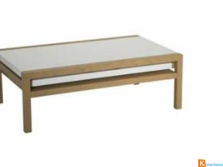 Table basse Swithome Blanche/Chêne BOIS MASSIF -60