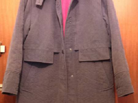 Veste manteau mi-long, couleur parme, T. 44 chaud
