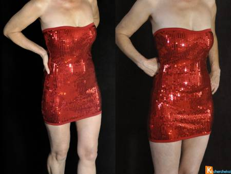 Robe rouge sexy sequin