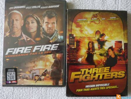 Lot 2 DVD Three Fighters - Fire With Fire neuf