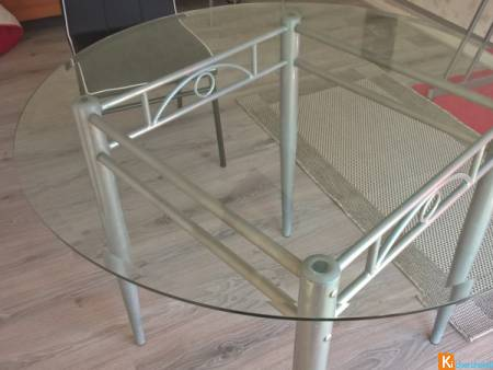 table ronde 4 places en verre