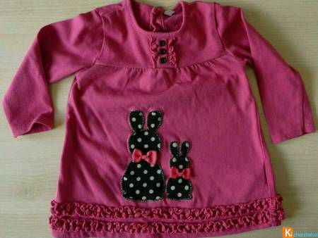 Pull rose motif taille 12 mois (occas43)