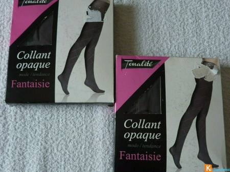 Lot de 2 collants gris motif taille 3 neuf (92)