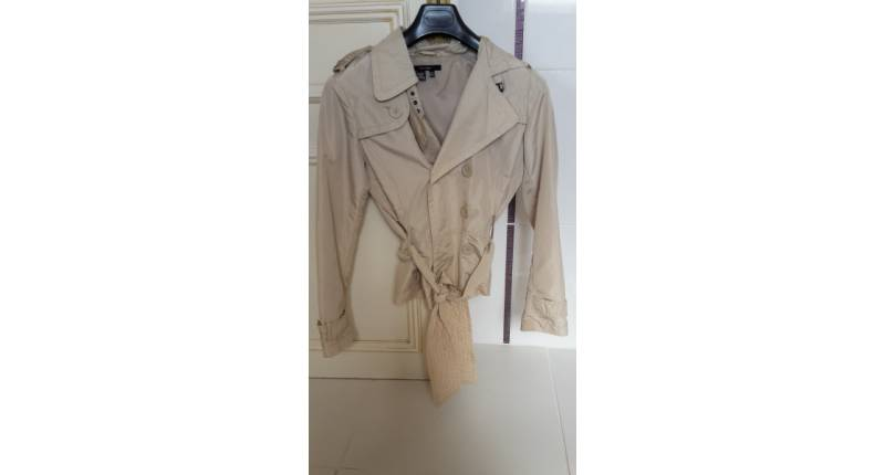 "Blouson toile beige, style ""trench"""