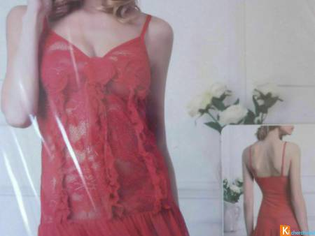 Nuisette rouge saumon ,string taille 38 neuf (7)