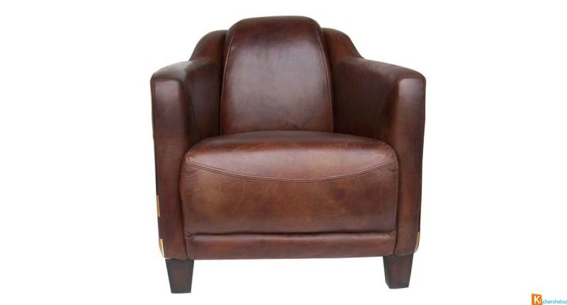 Fauteuil Club Lincoln Cuir Marron - Neuf 3 Occasion Biarritz 64200