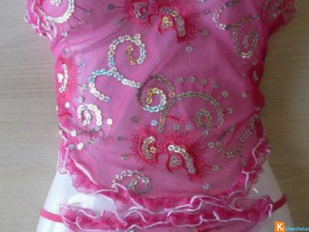 Dos nu avec string rose strass taille S-M neuf