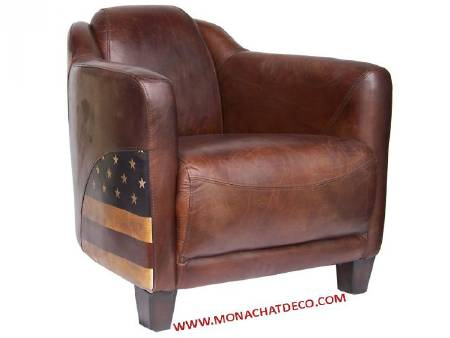 Fauteuil club cigare LINCOLN cuir marron - NEUF