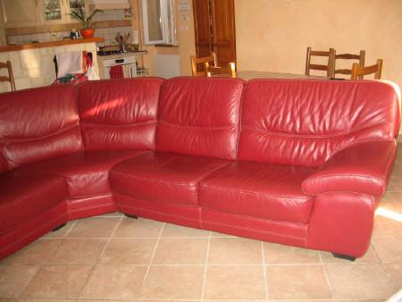 grand canape cuir rouge