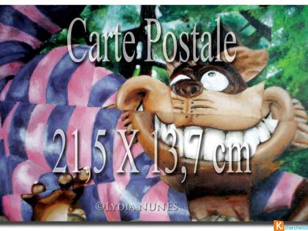 2 Cartes postales. Chat de Cheschire. Alice au pay