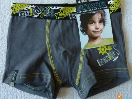 Boxer gris motif taille 4-6 ans neuf (3)