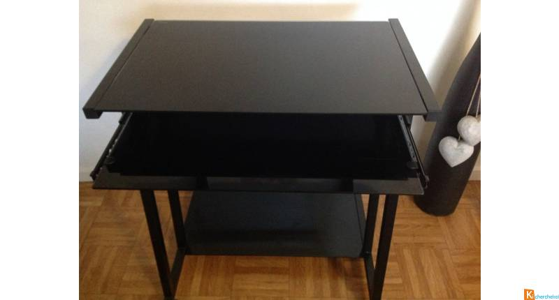 Table informatique verre noir