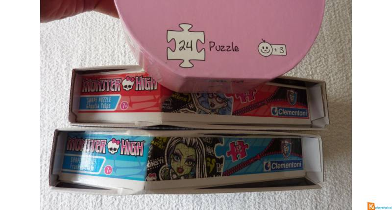 Lot 3 Puzzles Monster High et Barbapapa neuf