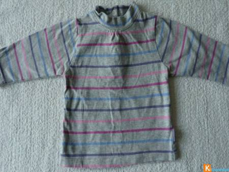 Pull gris rayure 6 mois P'tit bisou (occas7)