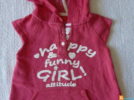 Sweat capuche rose taille 12 mois (occas11)